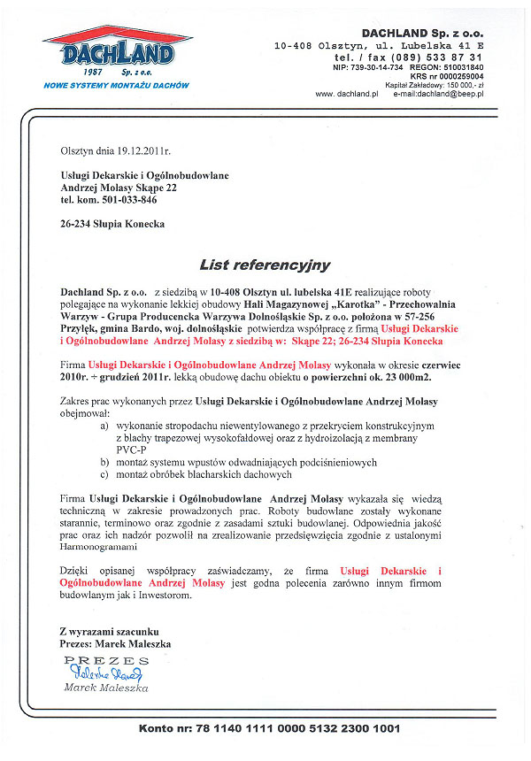 referencje dachland 2011