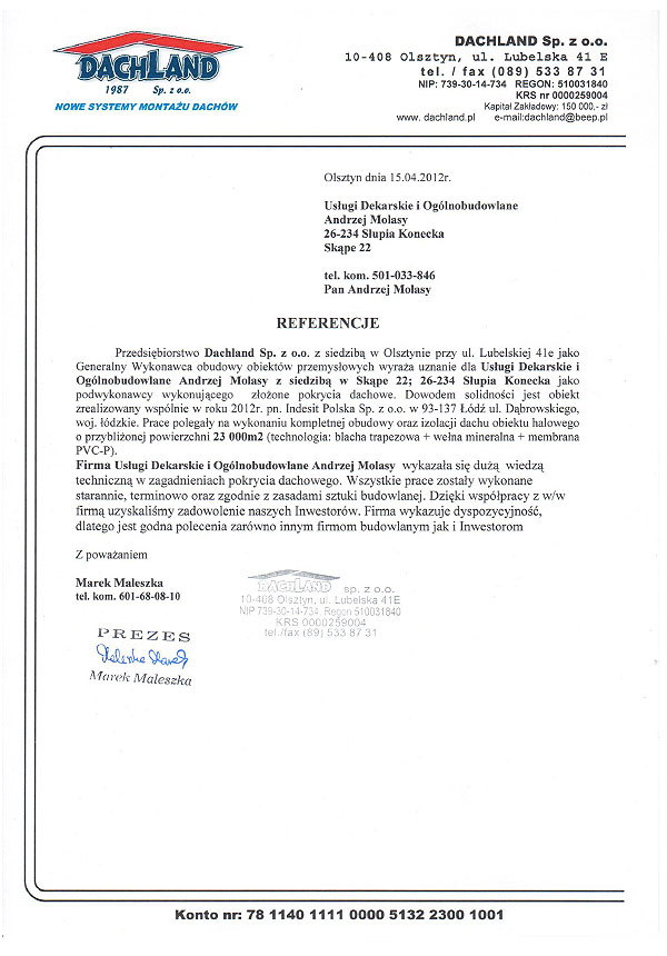 referencje dachland 2012