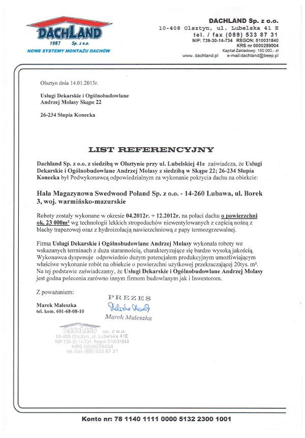 referencje dachland 2013